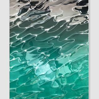 Surface and Depth #39, 2021 acrylique, aérographe et résine polie sur panneau 120 x 80 cm