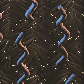 Exotic Swiggy 2, 2019 Acrylique et pastel gras sur papier marouflé sur toile 120 x 180 cm