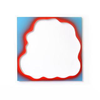 Le pochoir rouge, 124 x 124 cm, acrylique sur bois