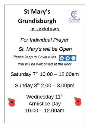 St Mary's Grundisburgh open for prayer