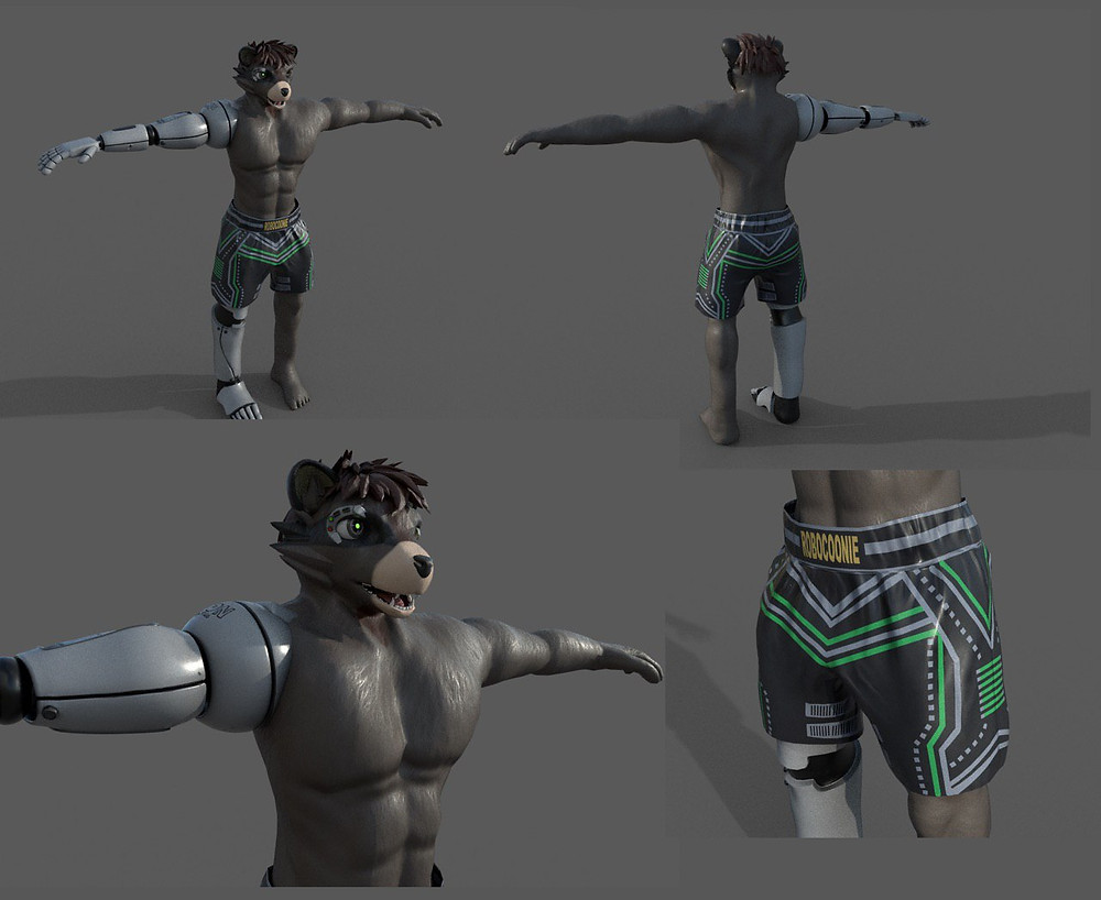 3D art of a semi robotic raccoon wearing boxing trunks
