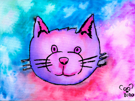 Watercolor Cards: Kitty