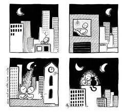 Une nuit en ville, lune vieille