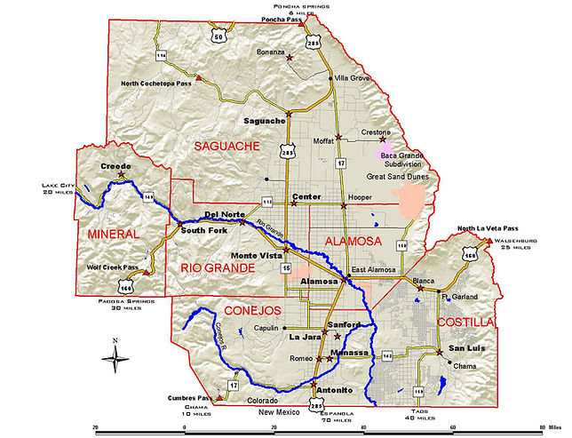 Detailed map of the San Luis Valley.
