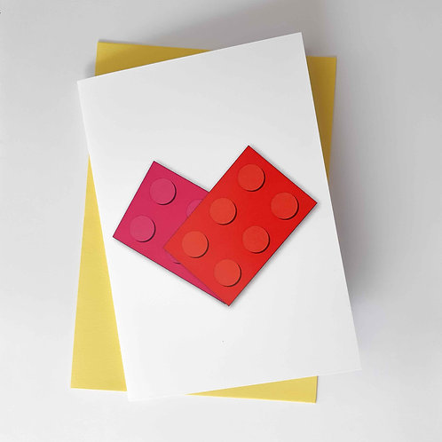 Lego Love Heart Greeting Card