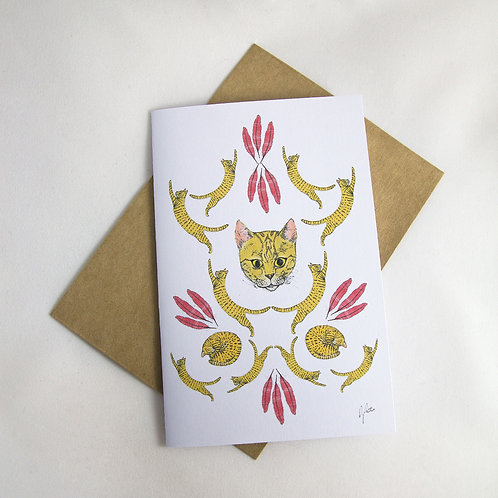 Cat Damask Card