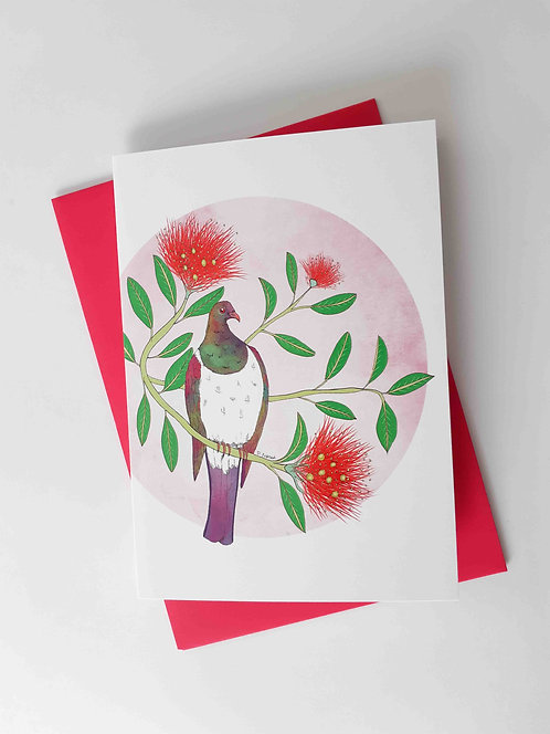 Pink Keruru Greeting Card