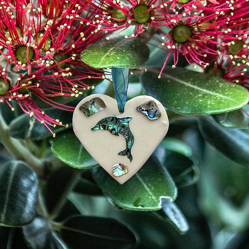 Dolphin Paua Shell Heart