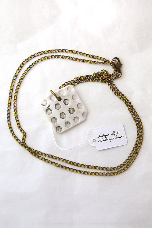 White and Grey Blockwork Necklace