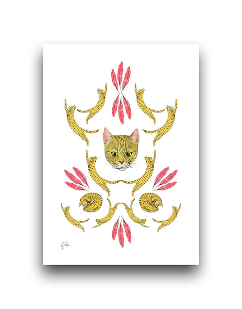Cat Damask - Illustration
