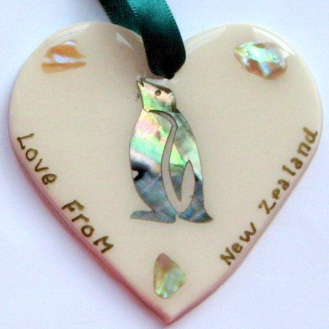 Paua Penguin Heart