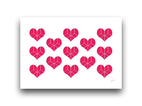 Pieces of my Heart - Pattern - Pink