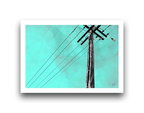 Rustic Power Pole - Blue Skies