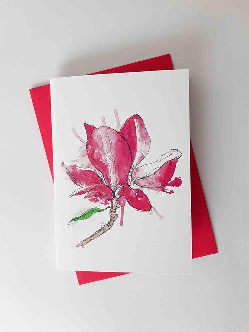 Magnolia Graffiti Floral Greeting Card
