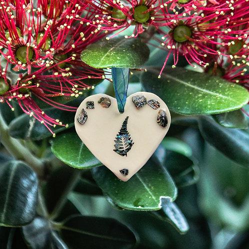 Fern Paua Shell Heart