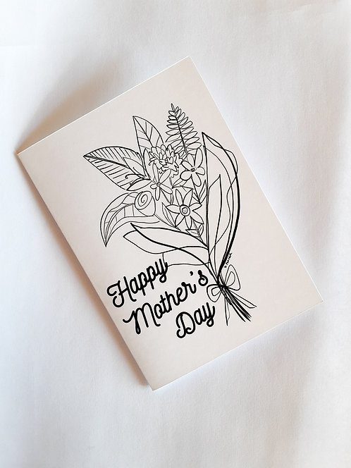 Print & Paint Your Own Mother's Day Greeting Card - Flowers