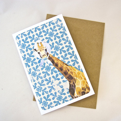 Baby Card - Giraffe - Blue