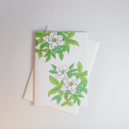 Gardenias Floral Greeting Card