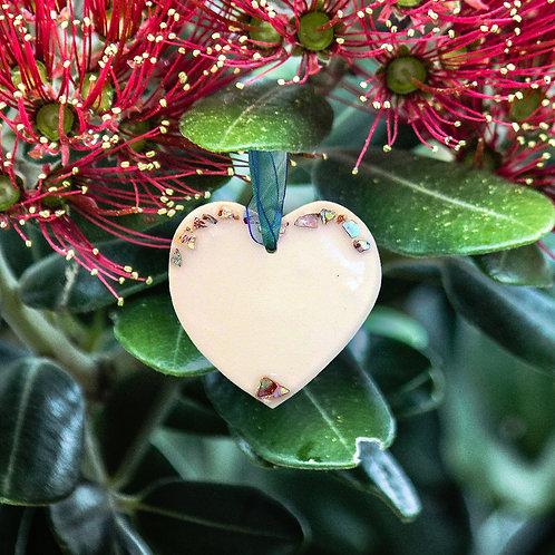 Paua Shell Heart - Curved