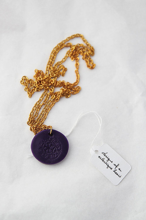 Round Lace Stamped Necklace