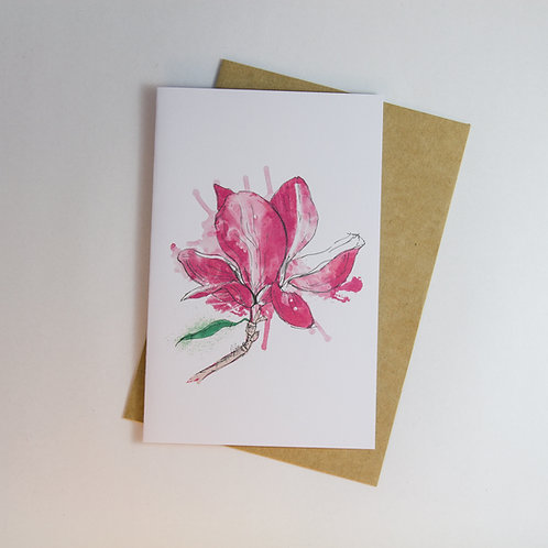 Magnolia Graffiti Floral Greeting Card