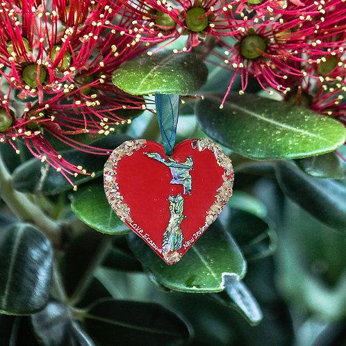 Red NZ Paua Shell Heart