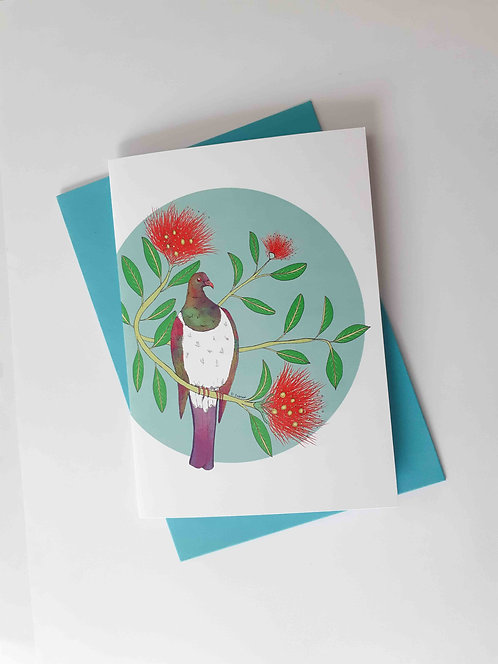 Turquoise Keruru Greeting Card