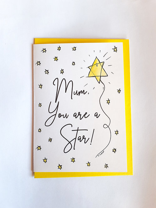 Handpainted Mother's Day Card - Star #1
