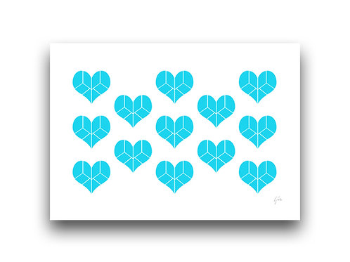 Pieces of my Heart - Pattern - Turquoise