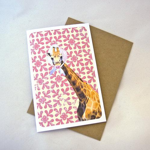 Baby Card - Giraffe - Pink