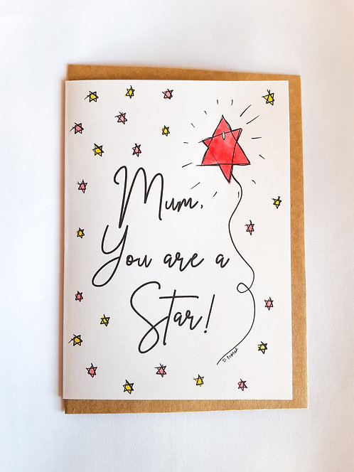 Handpainted Mother's Day Card - Star #2