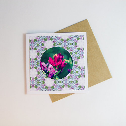 Handmade Craft Ixia Floral Card