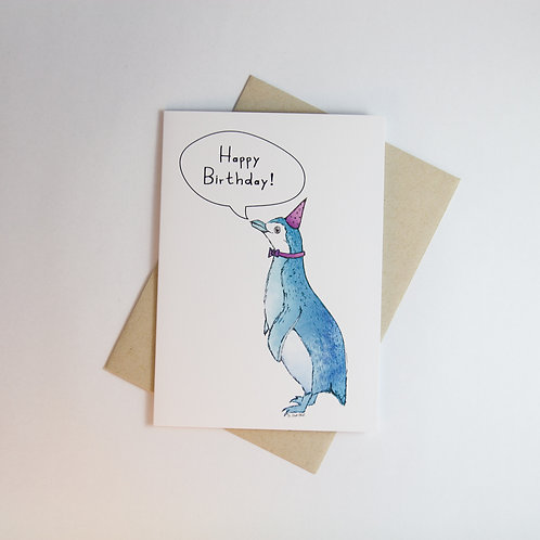 B'day Penguin Greeting Card
