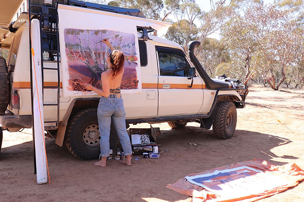 Emily-Imeson-and-her-outback-studio,-Wyperfeld-National-Park-Vic-2019-credit-Emily-Imeson-