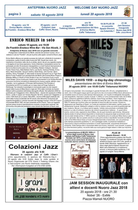 On Tour in Sardinia: Time in Jazz, Berchidda & Nuoro Jazz (book presentations, concerts & te