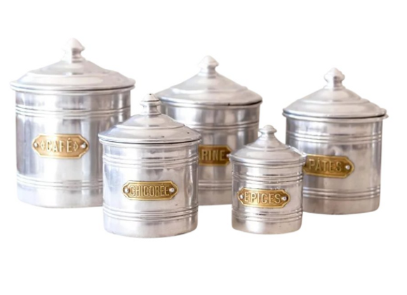 Mid-Century French Canister Set of 5