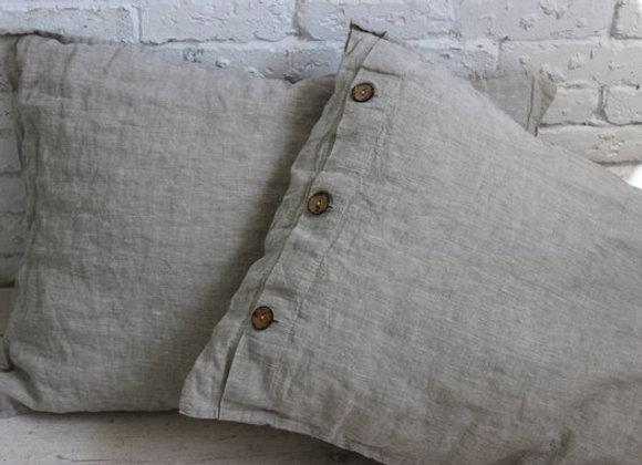 100% Organic Linen Pillowcase - Coconut Buttons