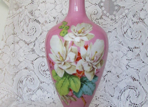 Victorian Handpainted Art Glass Vase