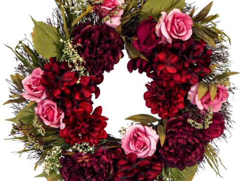 Autumn Peony & Rose Wreath