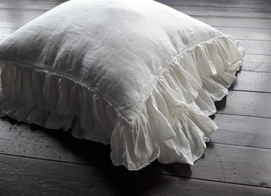 100% Linen Ruffle Pillowcase Ivory