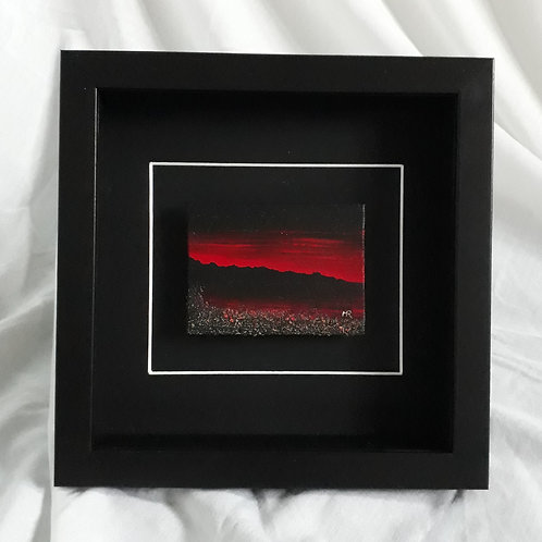 Mountain Seascape - Red & Black 3x4 inches #6