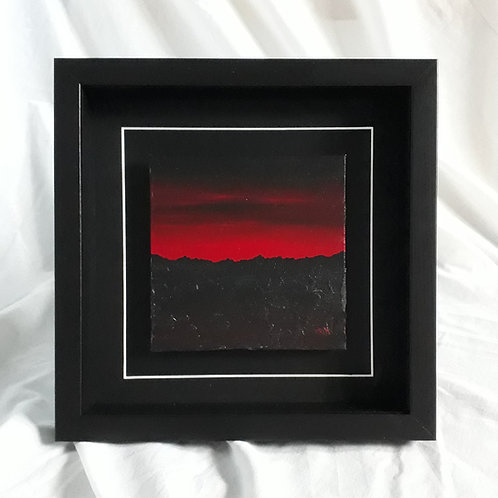 Mountainscape - Red & Black 6x6 inches #8