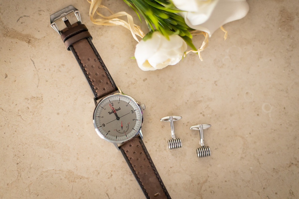 Relógio botões de punho casamento