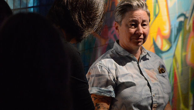 woman at art gallery