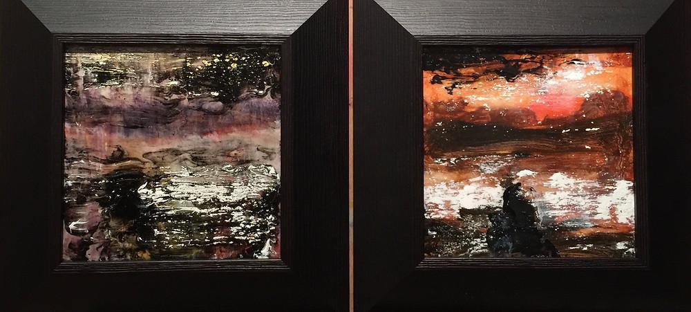 """Strandbad"" II et V , 20 x 20 cm, Technique mixte 2016"