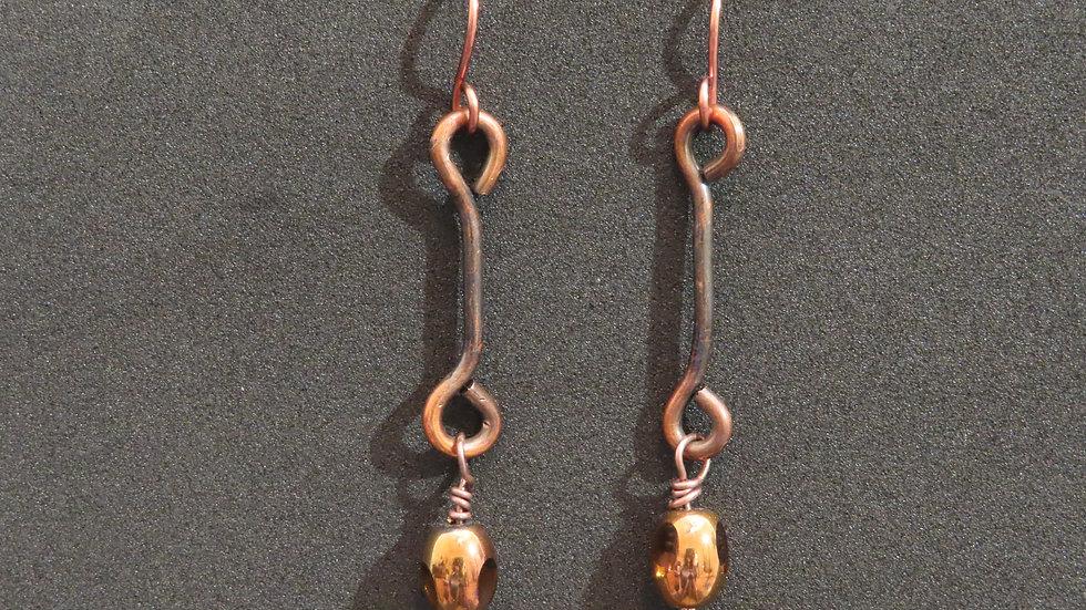 Wirework Copper Earrings #2049