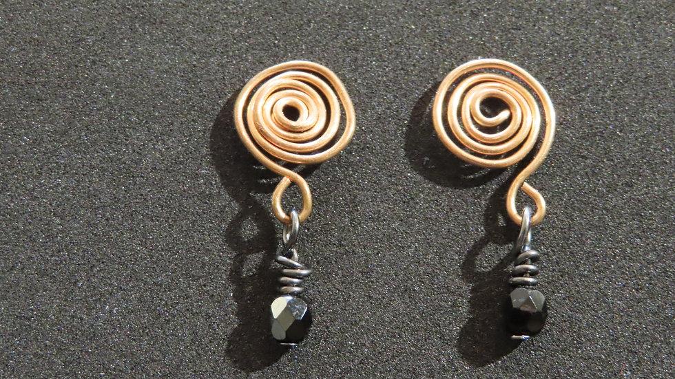 Wirework Copper Earrings #2058