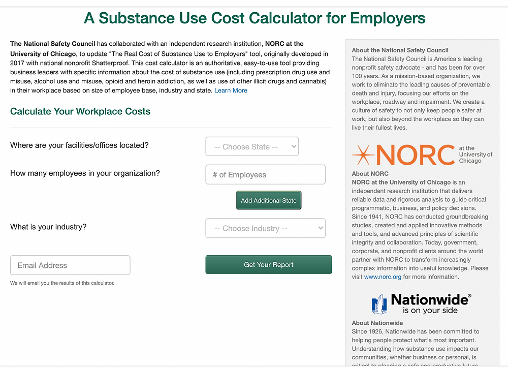 screenshot of substance use cost calculator for employers