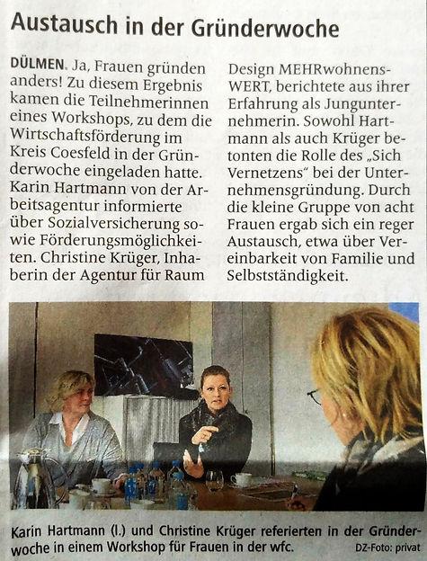 Dülmener Zeitung Grünerwoche Christine Krüger wfc Frauen Home Staging Mehrwohnenswert
