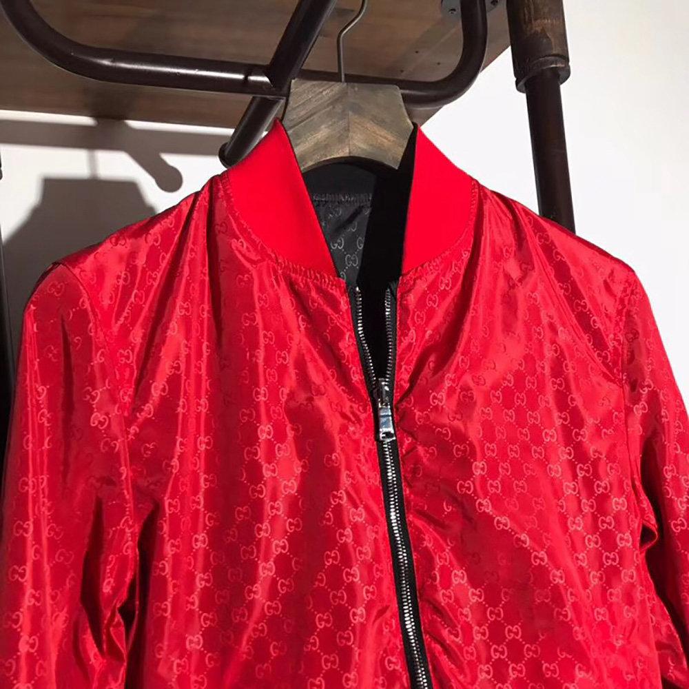 47e757e63e95 Gucci Reversible GG jacquard Nylon Bomber Jacket(Red)